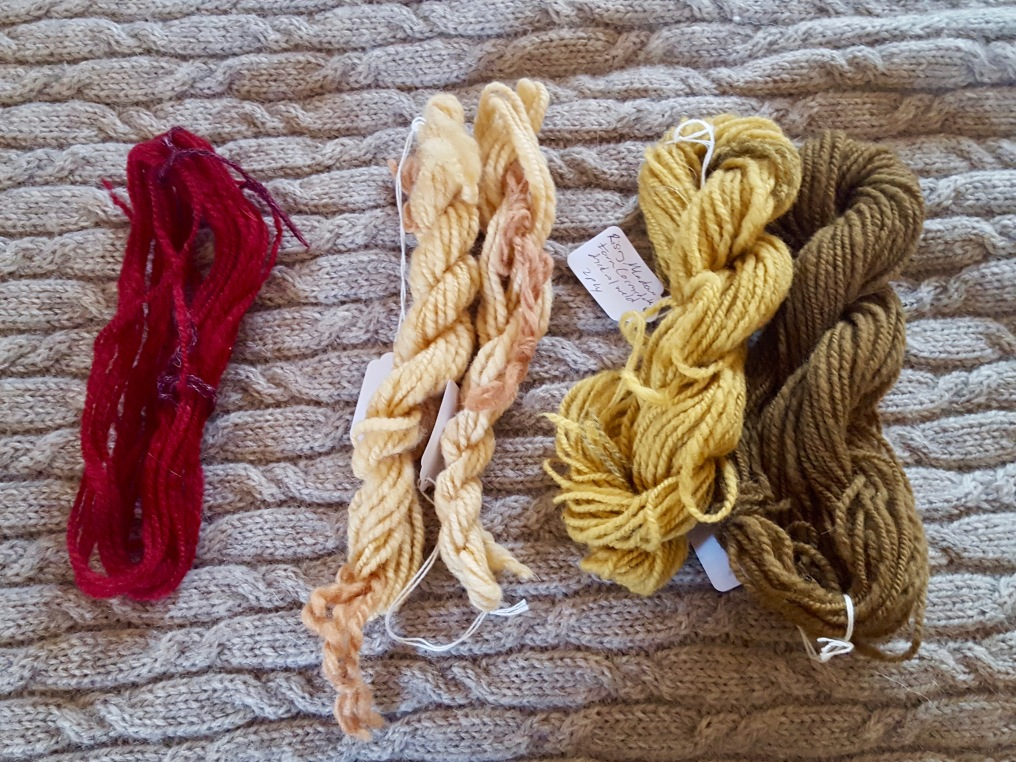 Skeins of Corriedale wooln dyed in shades of red, yellow and green.