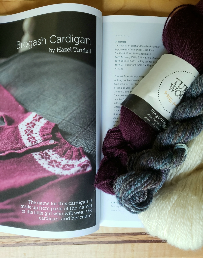 Photo of a childs cardigan pattern next to three skeins of yarn.
