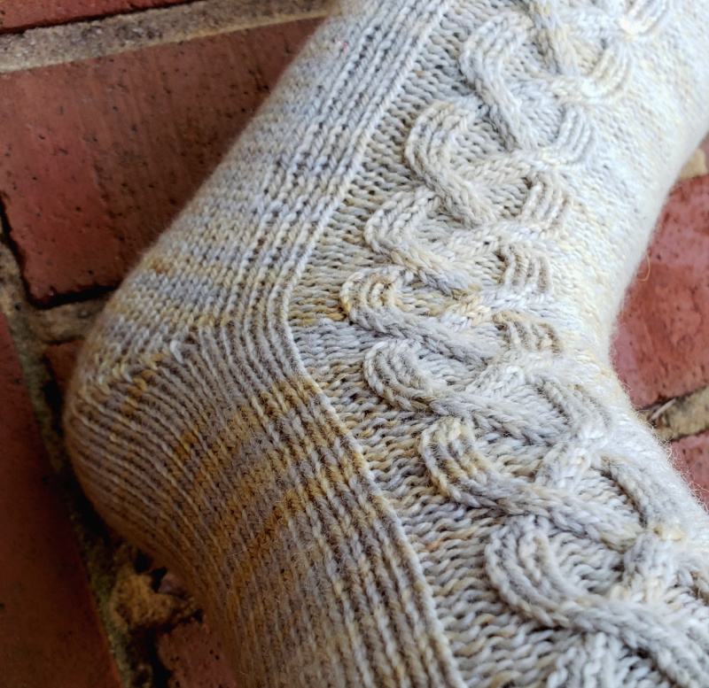 Close-up of the left sock showing the German short row heel.