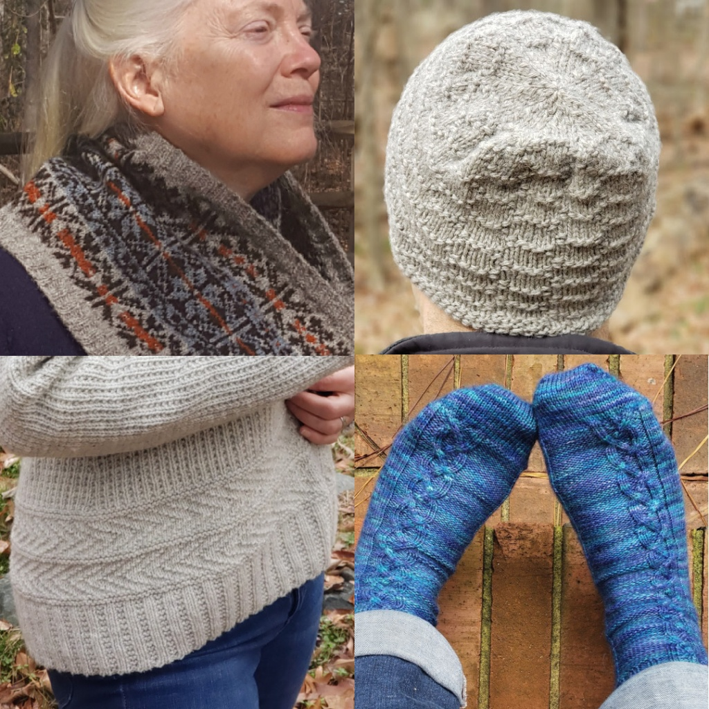 A handknit cowl, hat, cardigan, and socks.