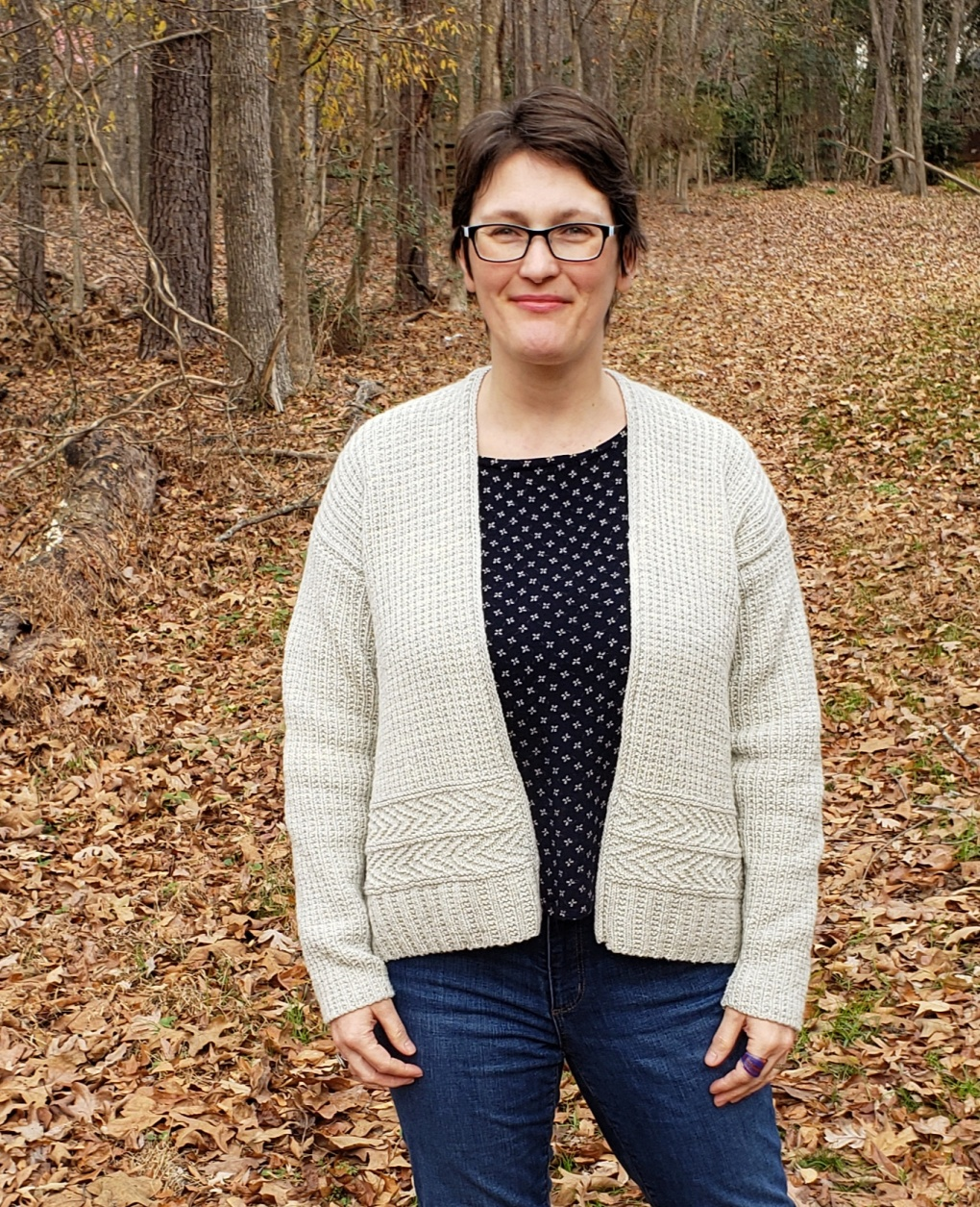 Middle-aged woman modeling a relaxed fit open cardigan
