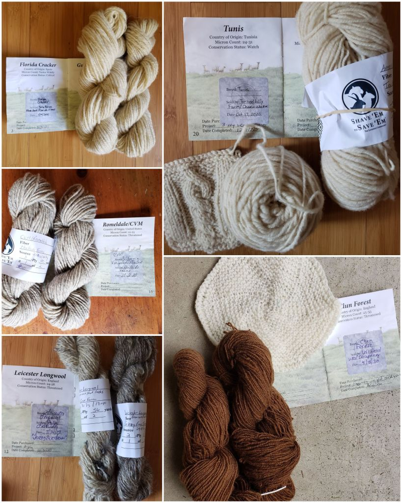 Images of handspun rare breed yarns with their SE2SE passport stamps.