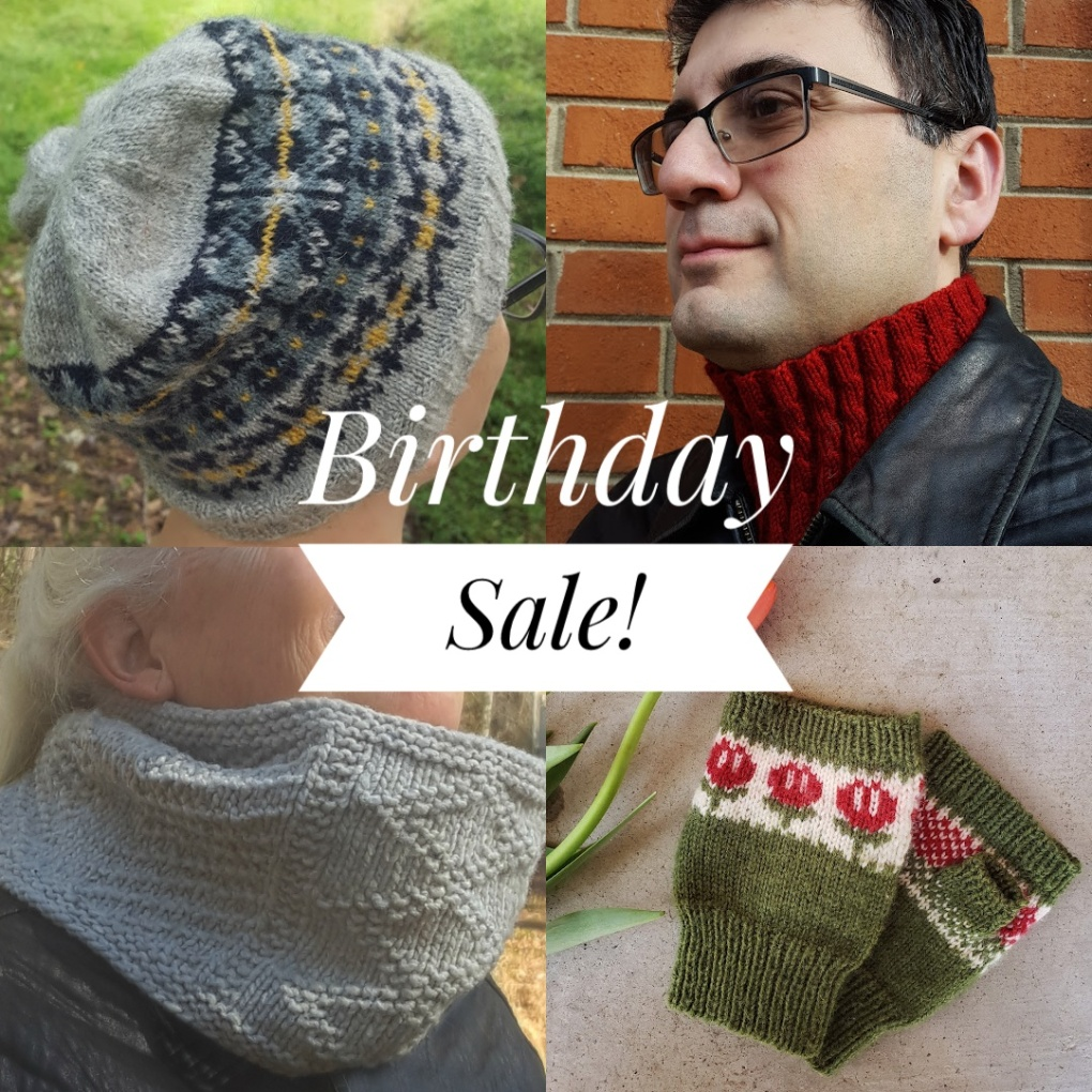 Handknit hat, cowls, and mitts with the text 'Birthday Sale' overlaid.